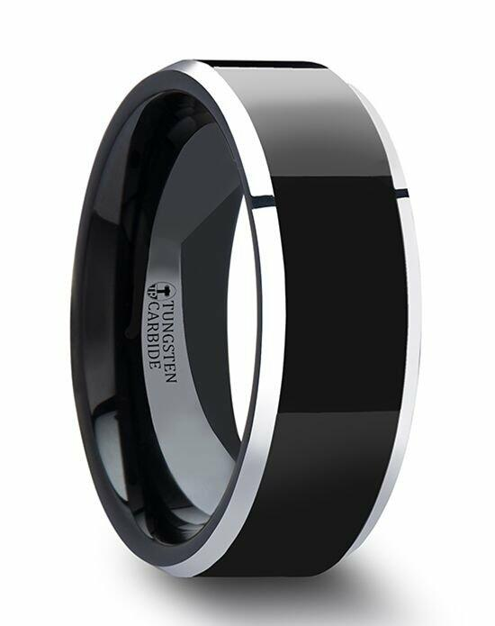 Larson Jewelers MACLAREN Black Polish Finished Center Tungsten Carbide Ring with Metallic Beveled Edges - 4mm - 8mm Wedding Ring photo