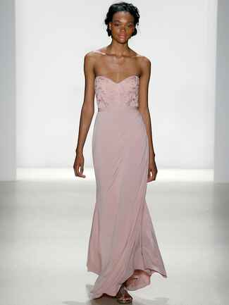 Kelly Faetanini Spring 2018 jersey slim gown with embroidered lace bodice