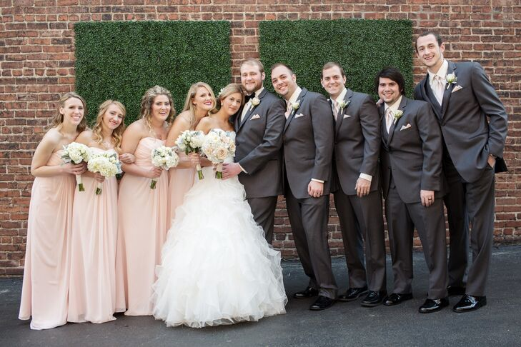 Blush Wedding Dress Grey Bridesmaids : Blush bridesmaid dresses and gray groomsmen suits