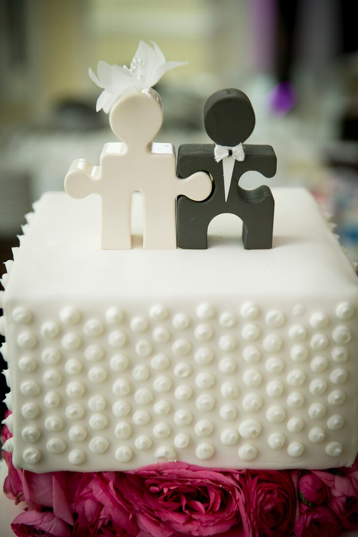 Small Polka Dot Wedding Cake with Puzzle Piece Cake Topper