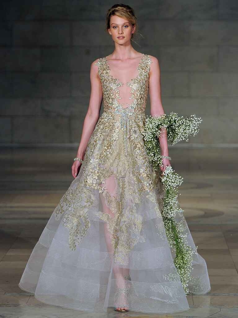 Colorful wedding dresses from bridal fashion week for Color embroidered wedding dress