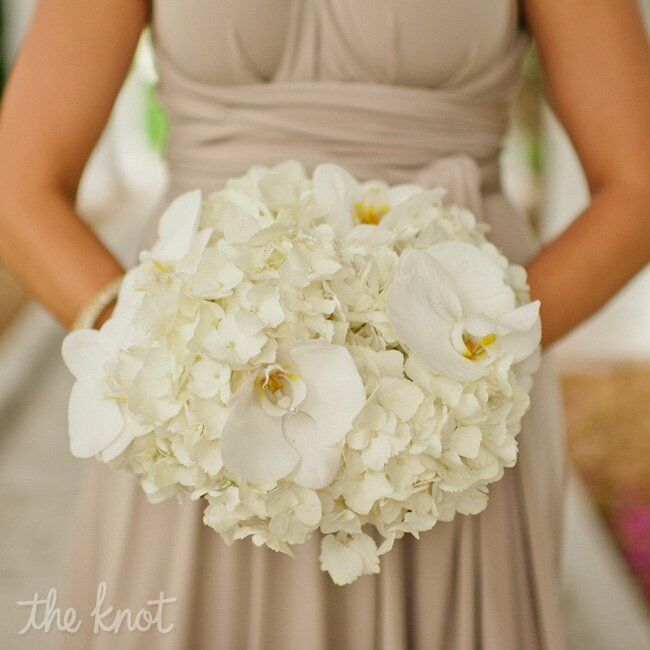 Wedding White Hydrangea: White Orchid And Hydrangea Bridesmaid Bouquet