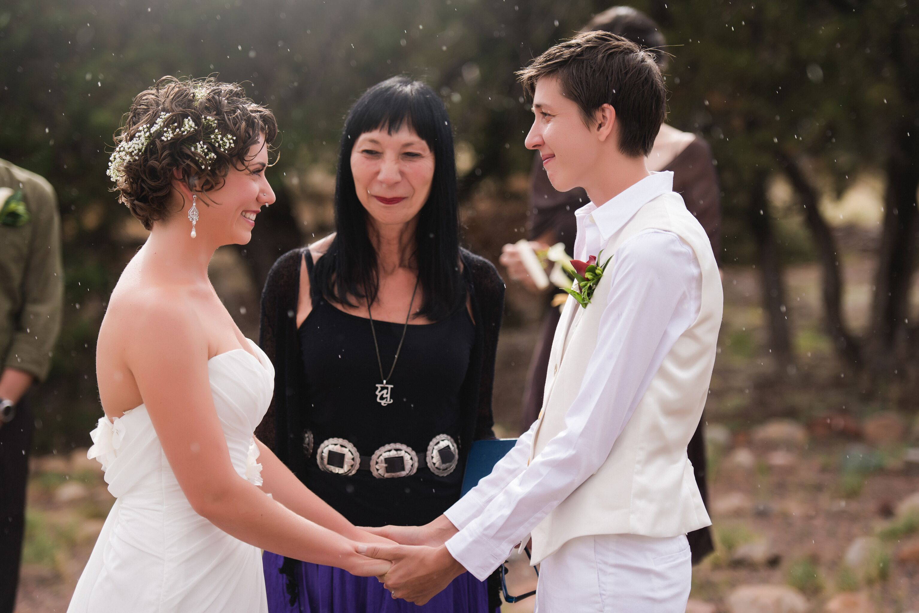 Short Wedding Hairstyles At Santa Fe Same Sex Ceremony