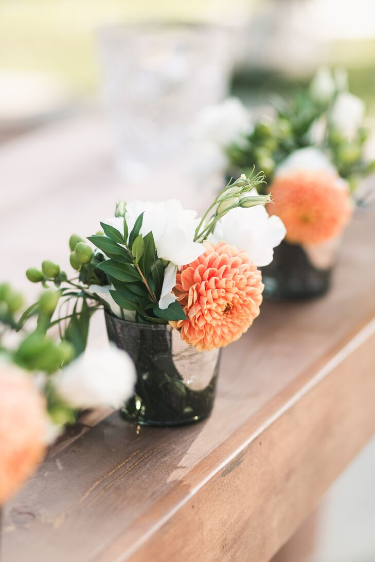 Coral Dahlia and White Lisianthus Floral Arrangements