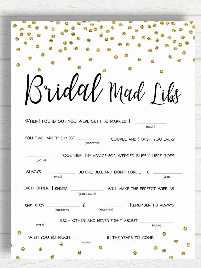 Obsessed image within bridal shower mad libs free printable