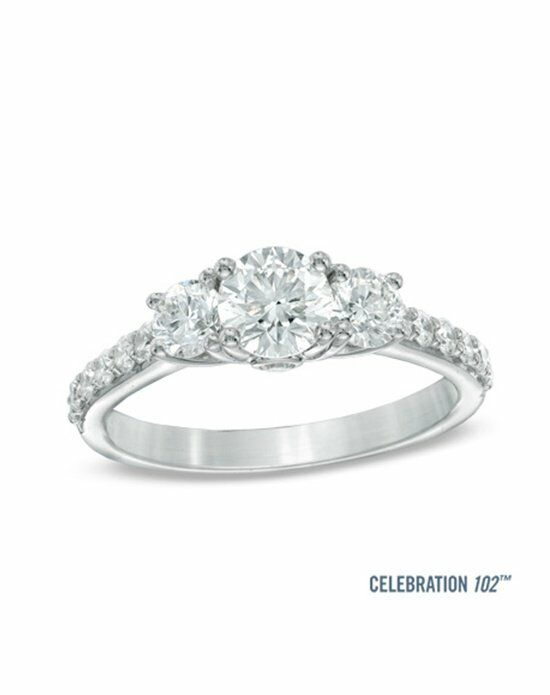 Celebration Diamond Collection at Zales Celebration 102® 1-1/2 CT. T.W. Diamond Three Stone Ring in 18K White Gold (I/SI2)  20006324 Engagement Ring photo