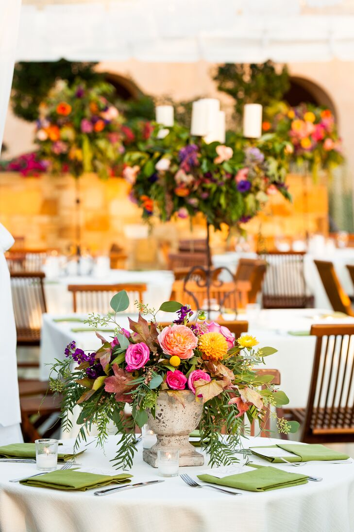 Bold Floral Centerpieces At The Southwestern Themed Reception