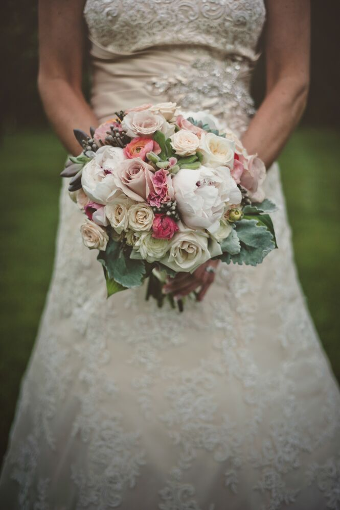 Pink Green Champagne And White Bridal Bouquet With