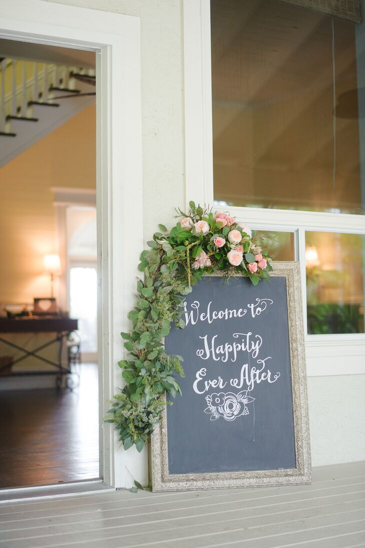 Romantic Blush Garden Rose Accented Wedding Sign