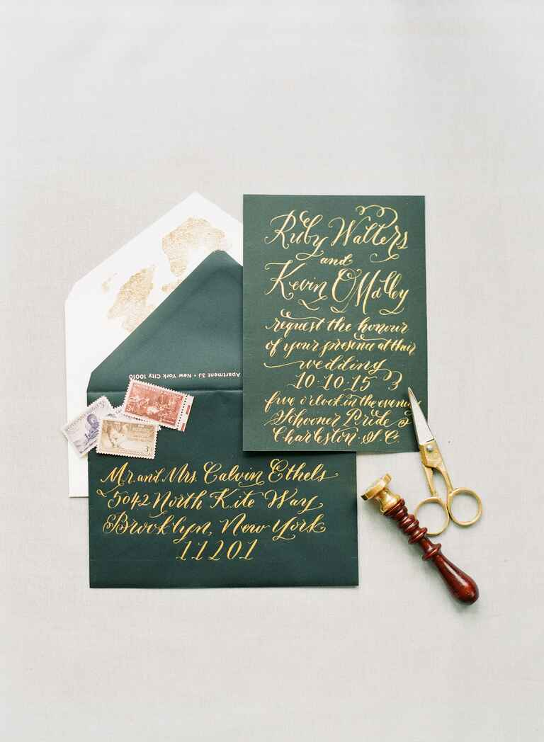 Calligraphed invitations for a black and white wedding
