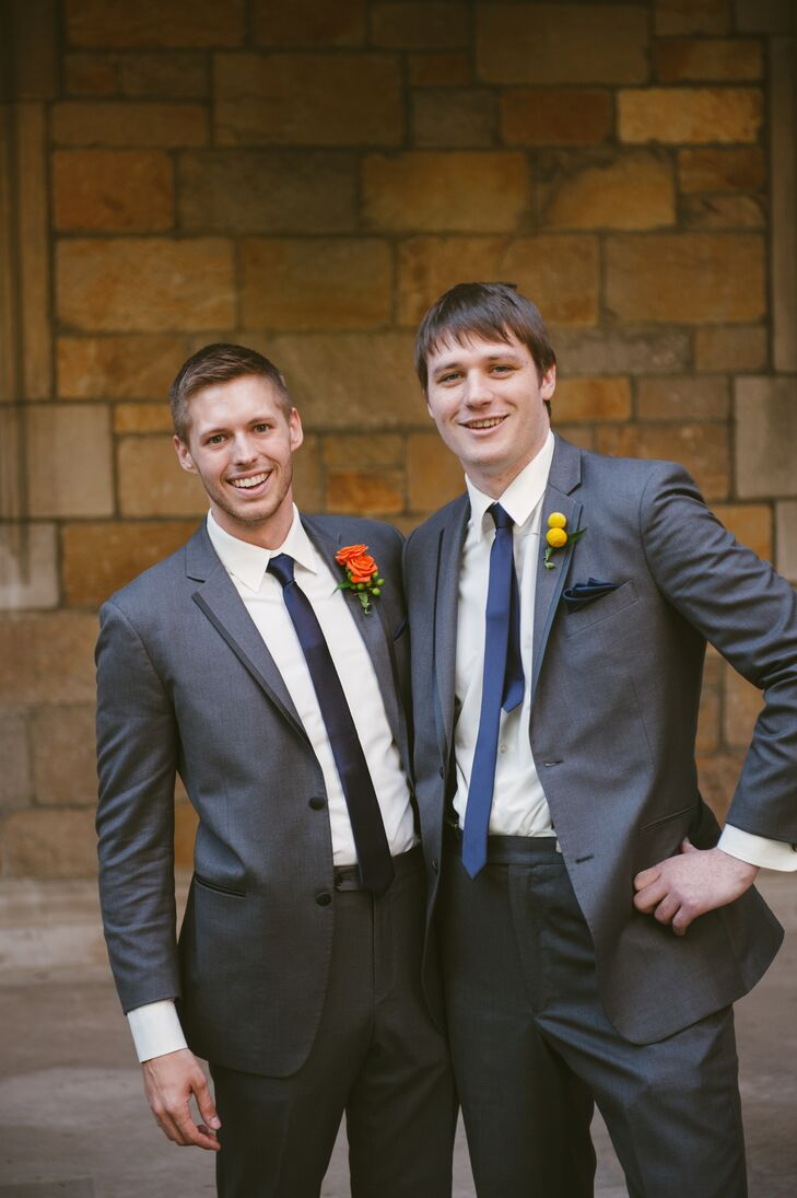 Dark Gray Groomsmen Suits with Skinny Ties and Orange and Yellow Boutonnieres