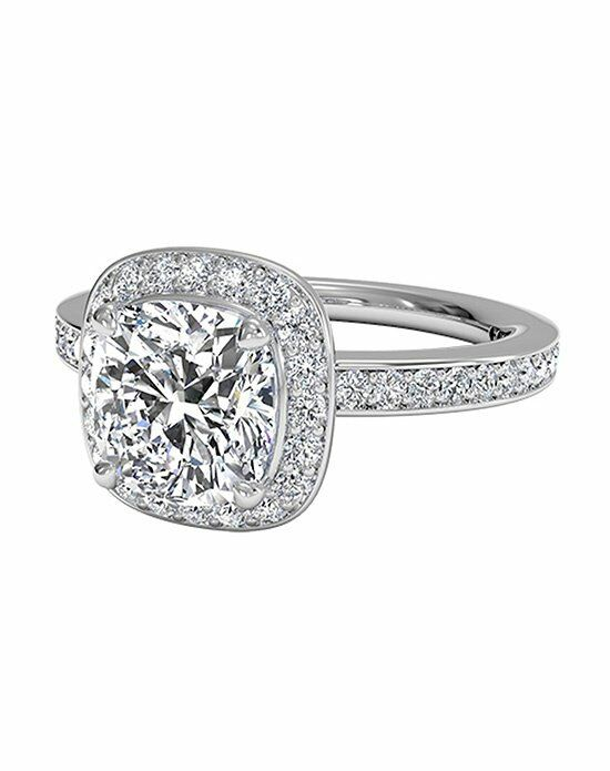 Ritani Cushion Cut Halo Micropavé Diamond Band Engagement Ring in Platinum (0.28 CTW) Engagement Ring photo
