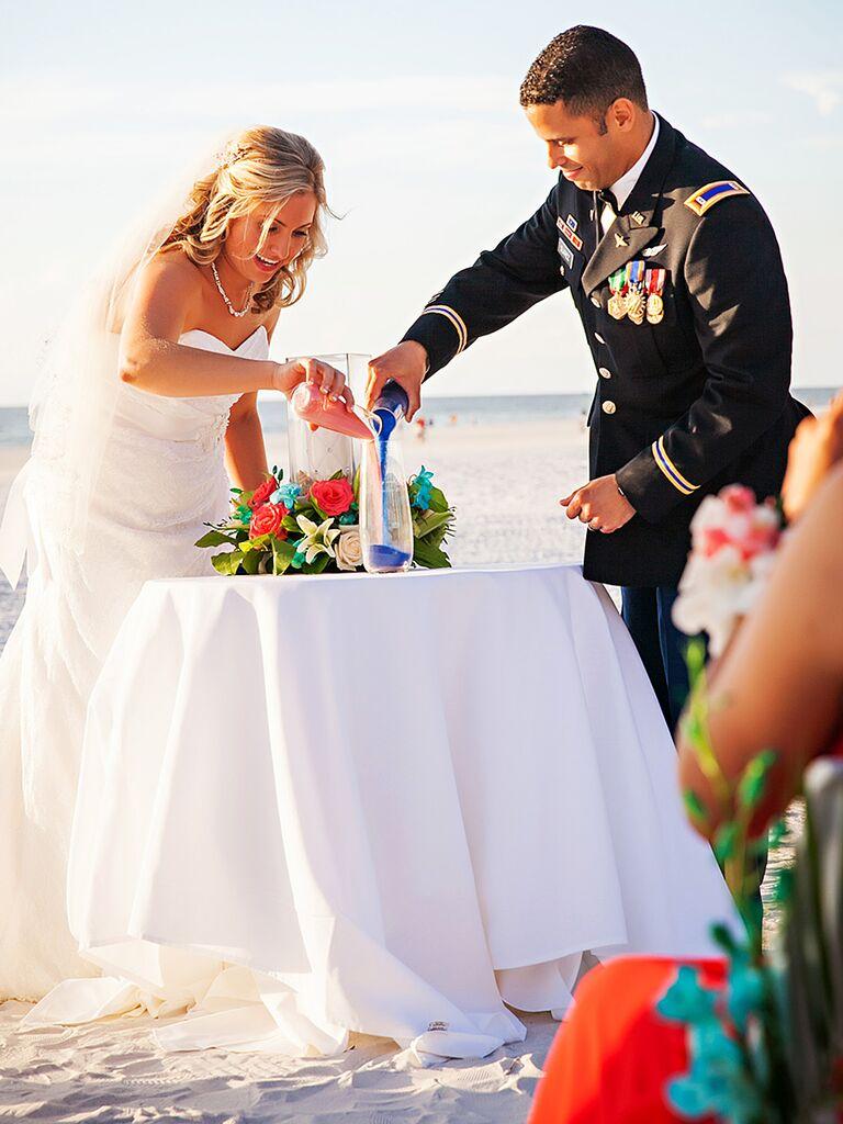 Tropical Colored Unity Sand Wedding Ceremony Ideas