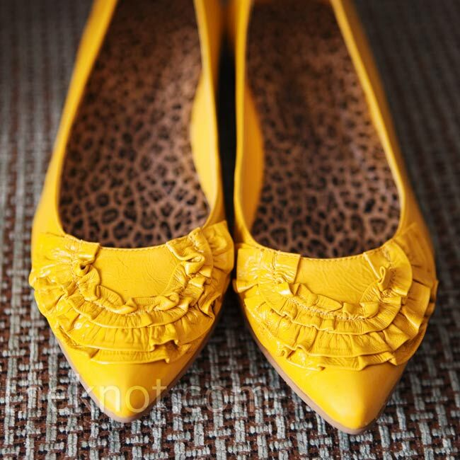 252b9d557c9c Yellow Wedding Shoes. Favorite. Yellow flats peeked out from under Jordan s  trumpet-style dress.