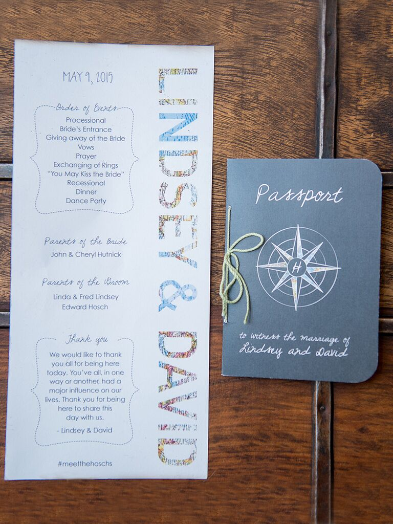 travel themed wedding program and passport stationery - Travel Themed Wedding Invitations