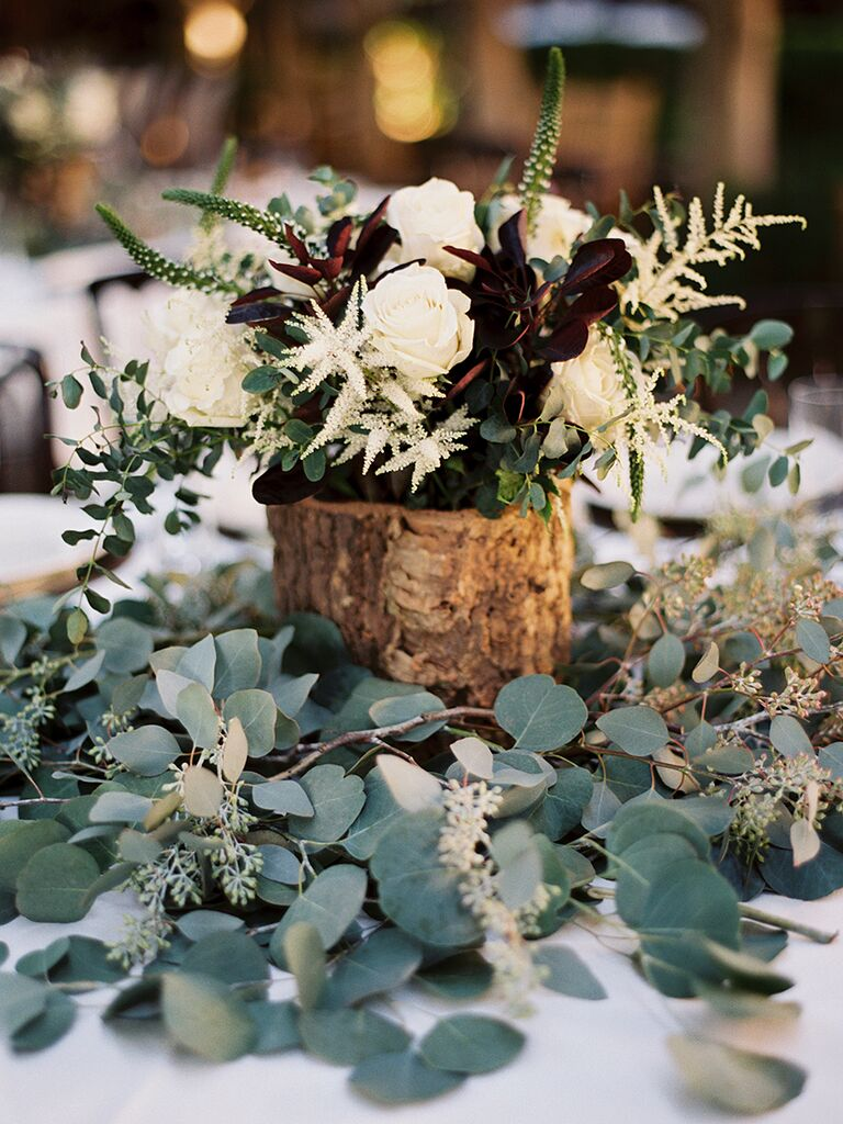 15 centerpiece ideas for a rustic wedding rustic wedding centerpiece idea with eucalyptus idea junglespirit Image collections