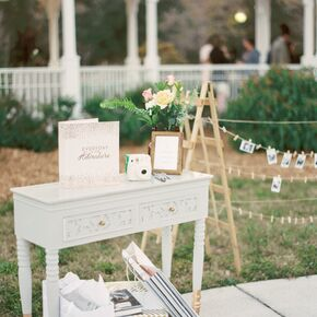 Vintage Mint And Gold Guest Book Table