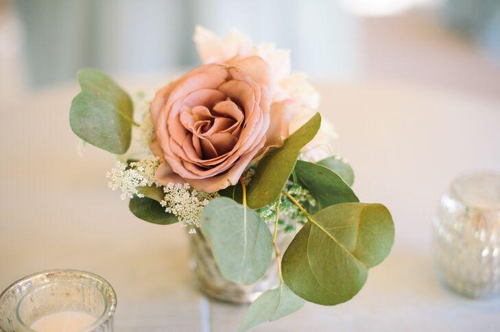 Pale Pink Rose Bud Vase Centerpieces