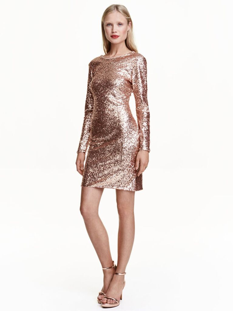 HM Rose Gold Sequin Wedding Guest Dress