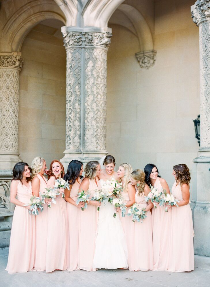 Peach Halter Wrap Bridesmaid Dresses