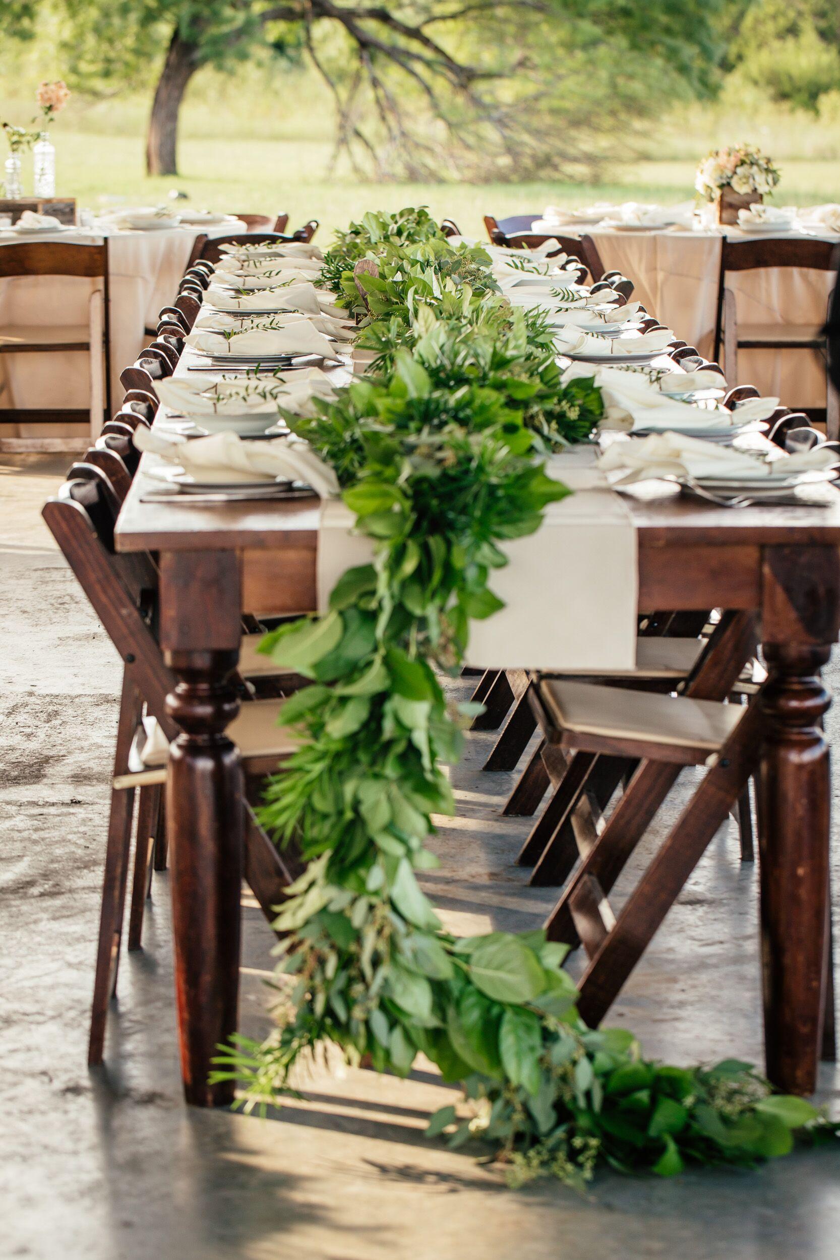 Long Dining Table Runner Natural Greens Garland