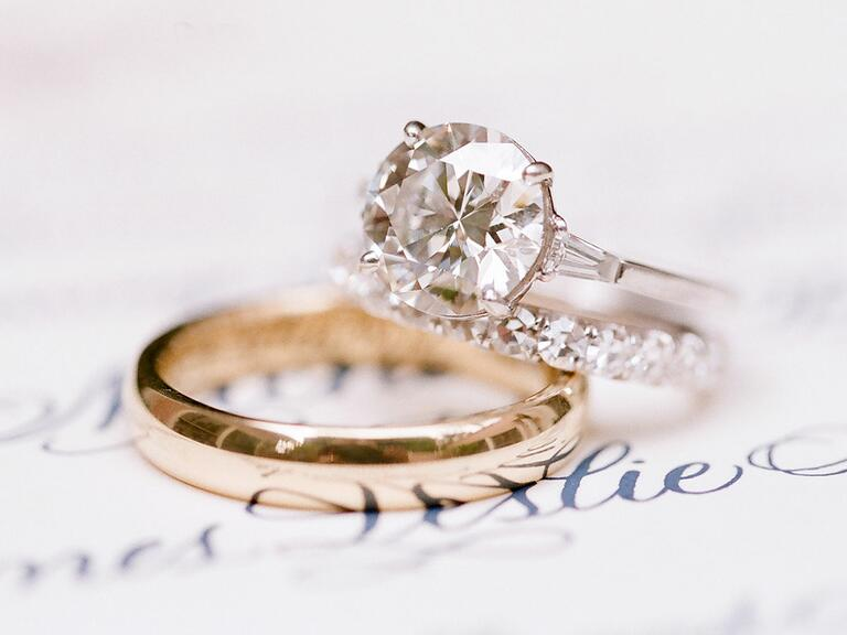Engagement ring and gold wedding band