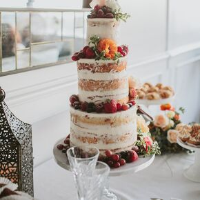 Beach wedding cakes colorful naked cake with orange blossoms and fruit junglespirit Choice Image