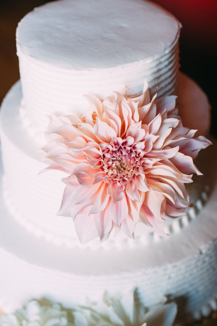 White Wedding Cake Decorated with a Single Dinner Plate Dahlia