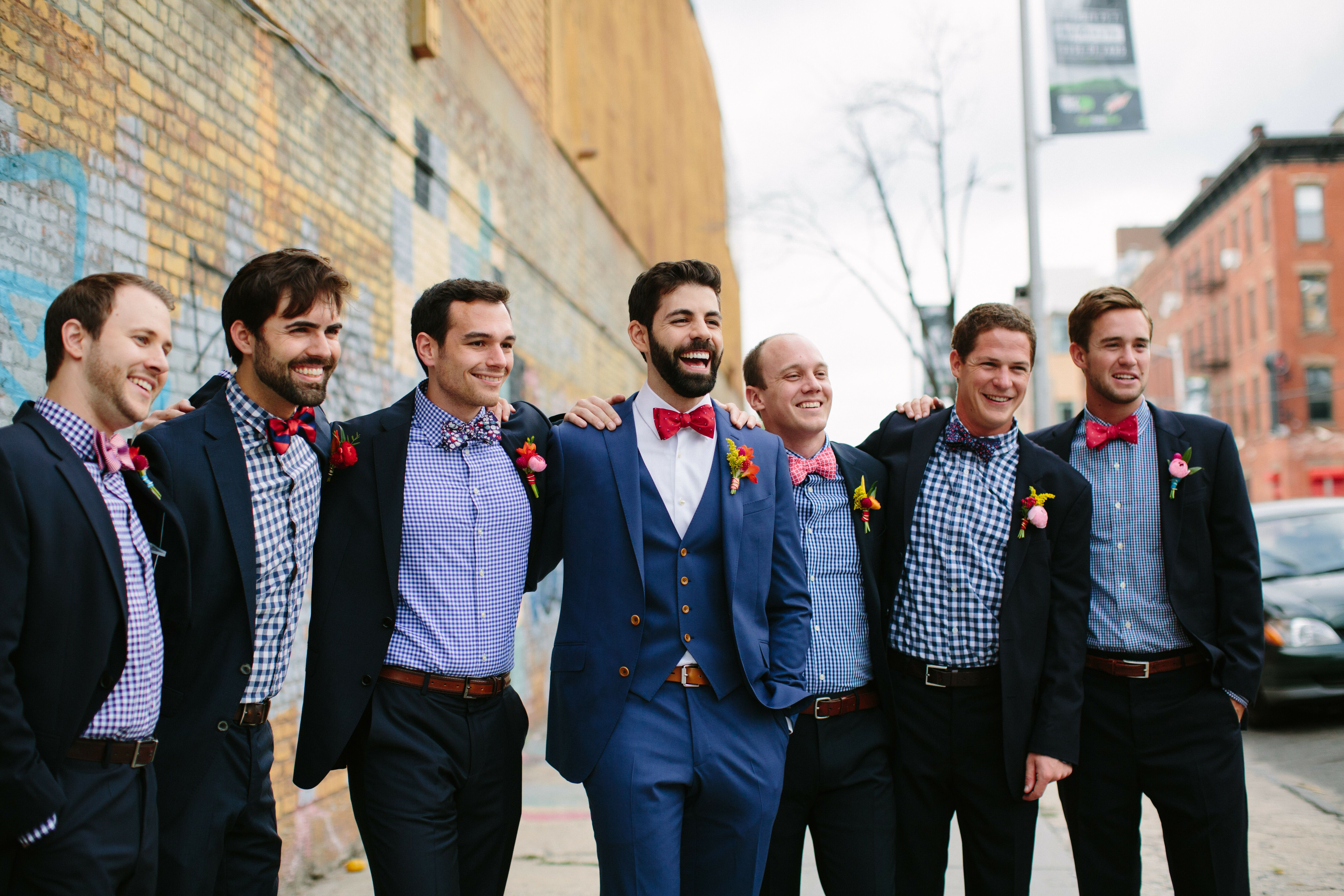 Navy Blue Groomsmen Suits With Mismatched Gingham Shirts