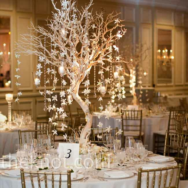 Winter wedding centerpieces manzanita tree centerpiece junglespirit