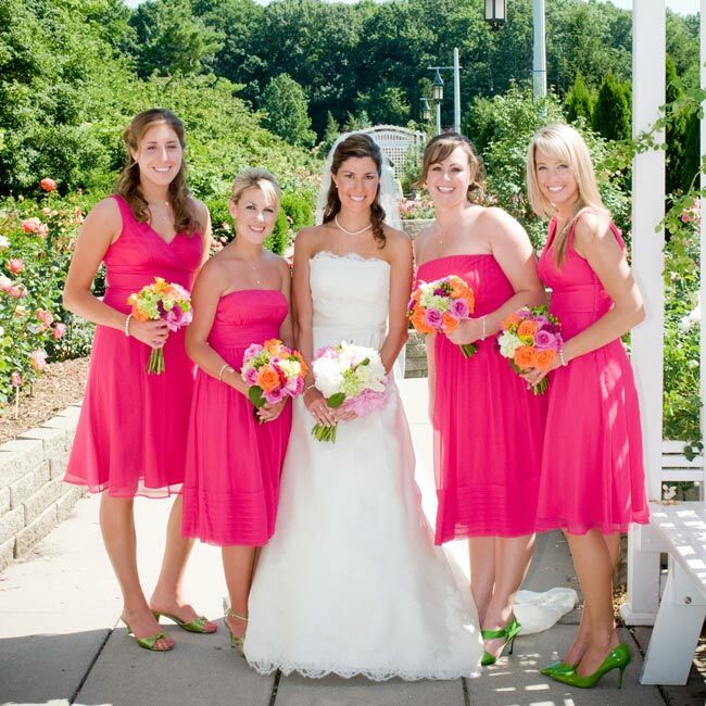 Lime Green Heels Bouquets Of Orange And Pink Blooms Hot Bridesmaid Dresses