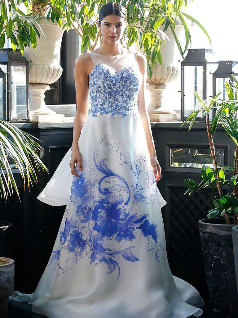 White Wedding Gown By Francesca Miranda With Blue Floral Details