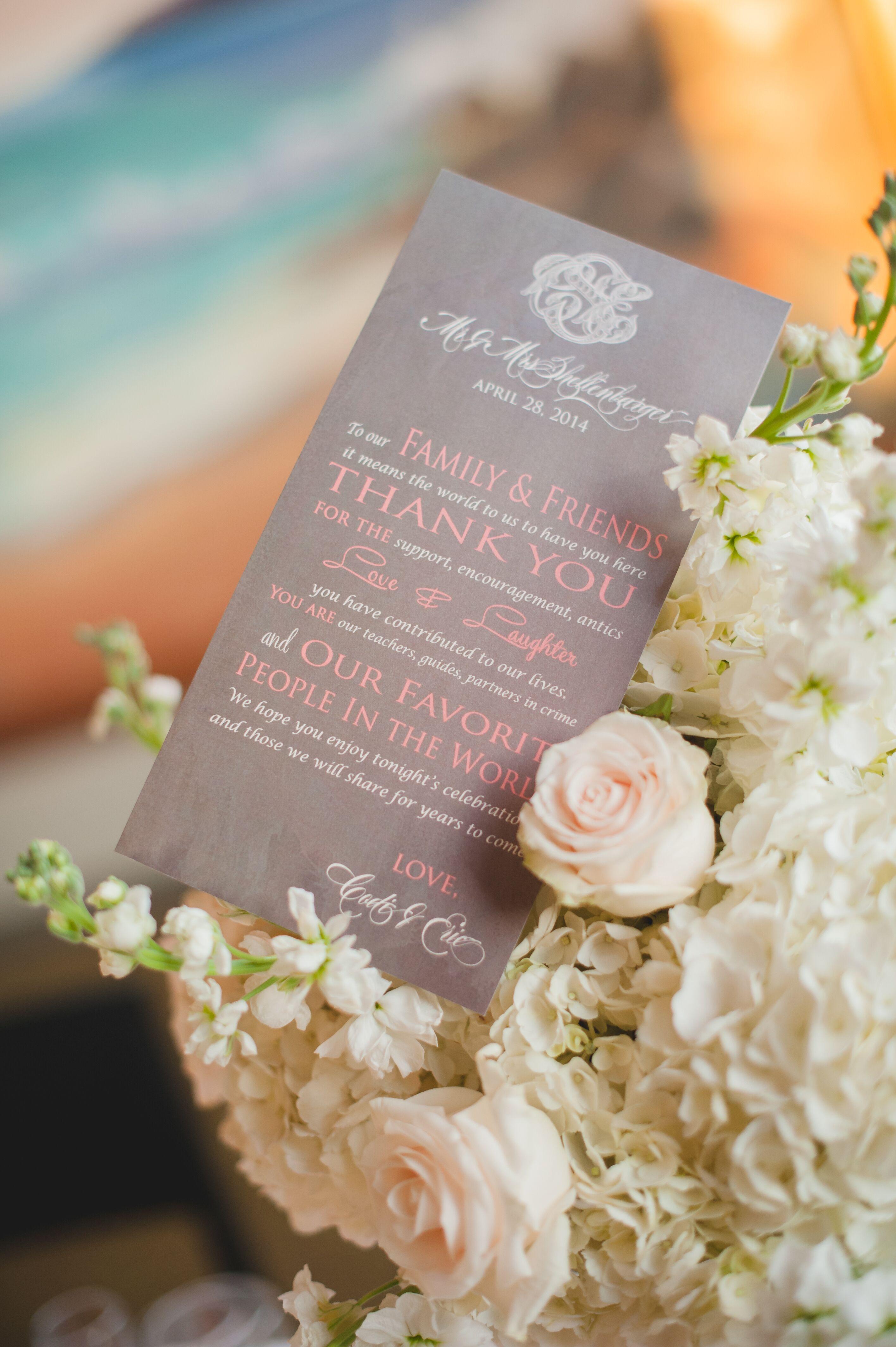 thank you card in flower arrangement