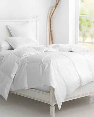 Comfortable white down comforter from Garnet Hill