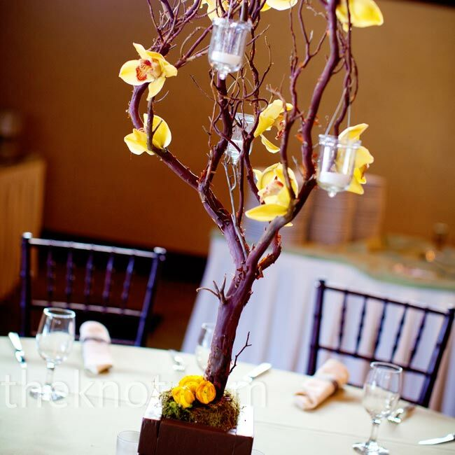 Wedding Altar Branches: Yellow Tree Centerpieces