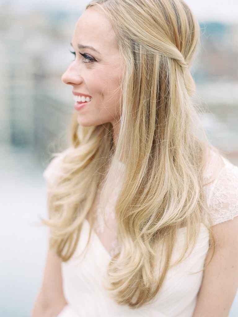 Half-Up Wedding Hairstyle Ideas With Curls, Flowers And Braids