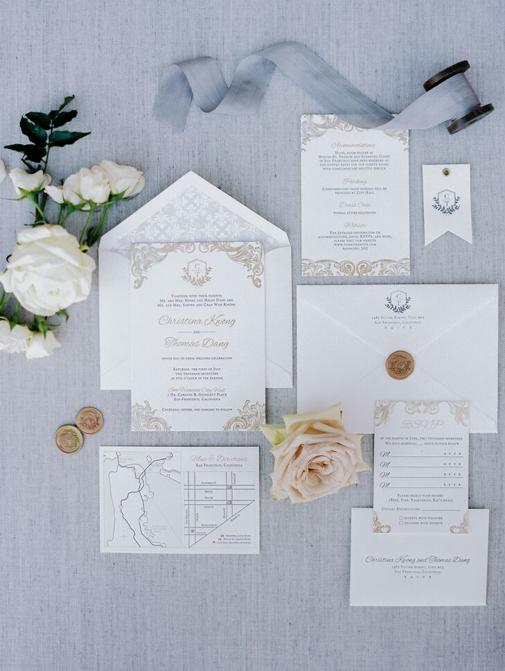 Silver and Gold Flourish Wedding Invitations