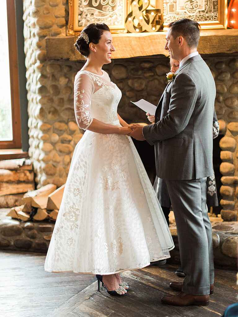 Vintage-style Justin Alexander tea-length wedding gown