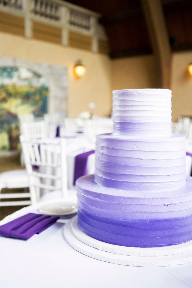Tiered Purple Ombre Wedding Cake