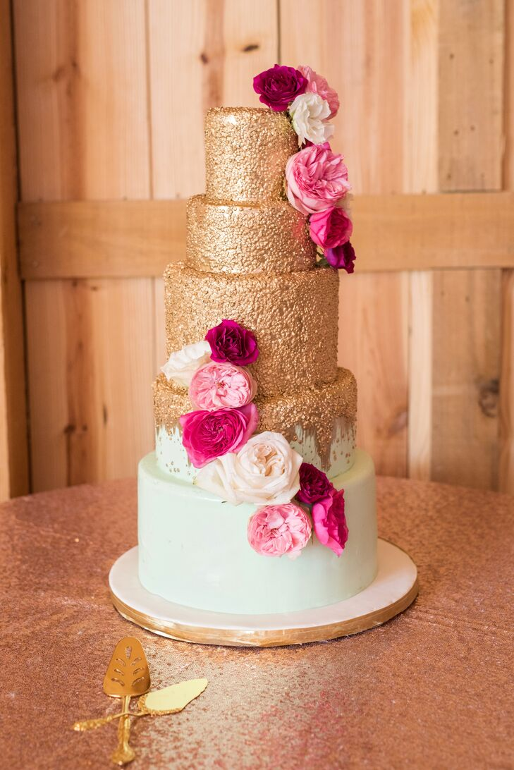 Gilded Tiered Cake with Pink Garden Roses