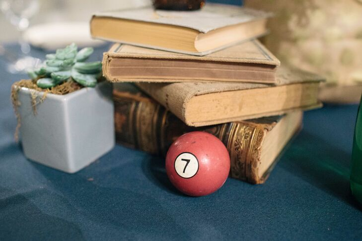 Antique Book and Pool Ball Centerpiece