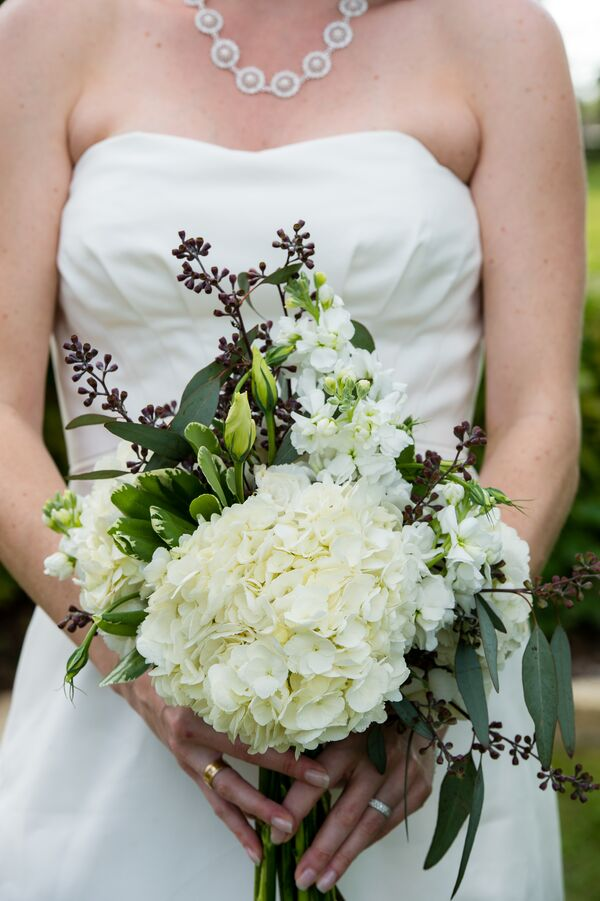 Purple Seeded Eucalyptus and Hydrangea Bouquet