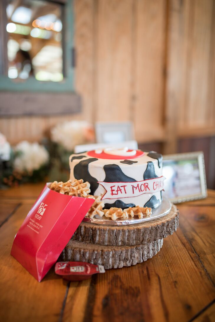 "During the reception, Morgan surprised Park with ""his favorite thing in the world"": Chick-fil-A. Morgan had his groom's cake decorated in a cow print with a Chick-fil-A logo and waffle-fry cookies."