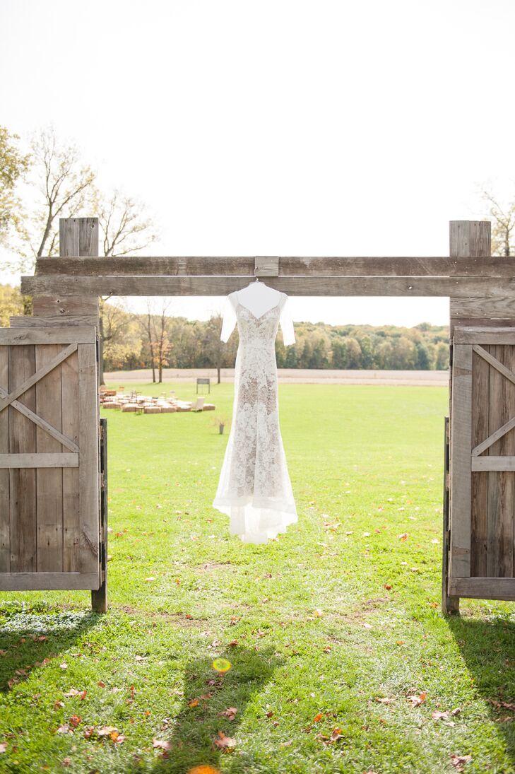 Cream Lace Wedding Dress with Beige Underlay