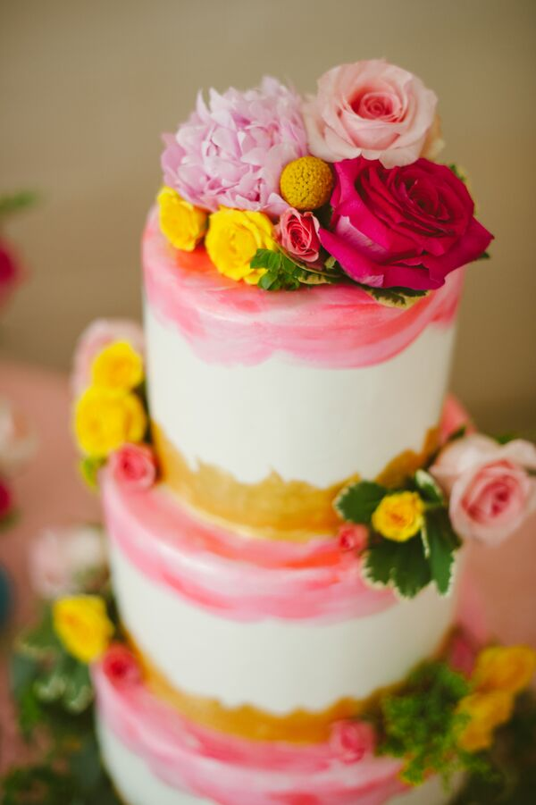 Rose, Peony and Craspedia Cake Flowers