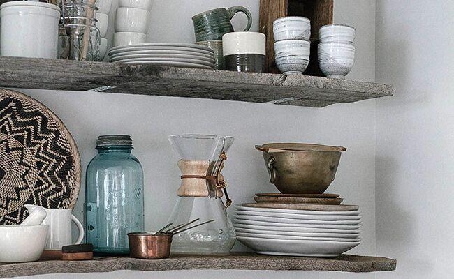 DIY Rustic Modern Wooden Kitchen Shelf