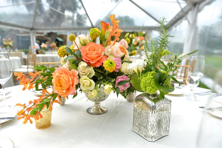 Whimsical Bright Wildflowers In Mercury Glass Vases