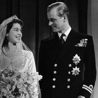 Queen Elizabeth and Prince Philip wedding day photo