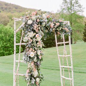Lush Floral Birch Branch Wedding Arch