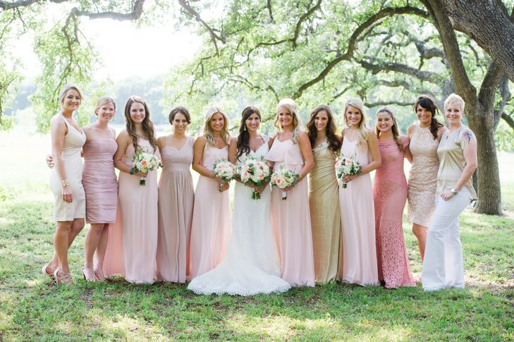 The bridesmaid dresses by Joanna August were blush, floor-length and ethereal. The house party selected dresses within the color palette.